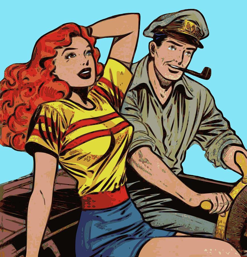 Couple Digital Art - Retro Couple On Boat Comic Style by Joy McKenzie