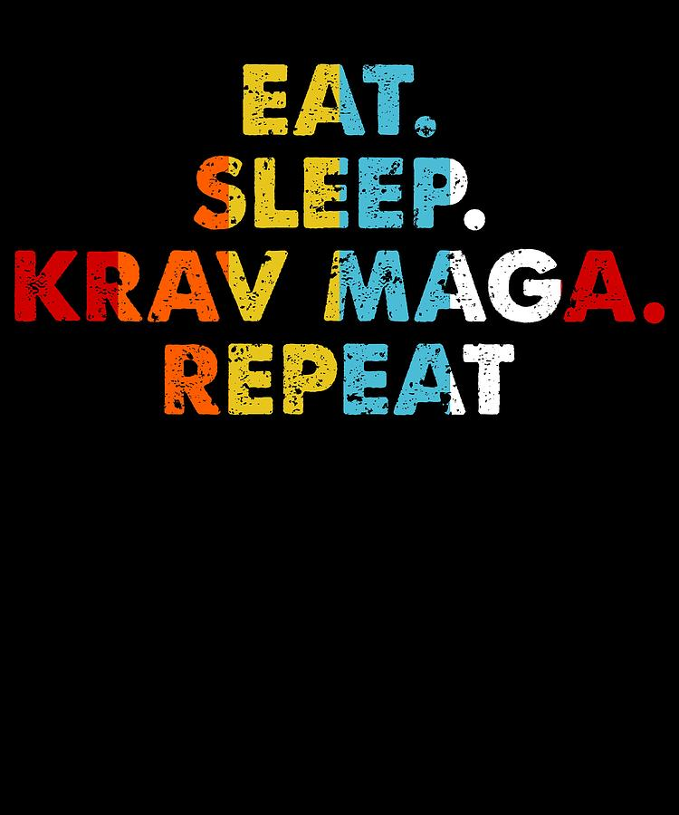 Retro Eat Sleep Krav Maga Repeat Vintage Martial Arts Saying Novelty Gift Idea
