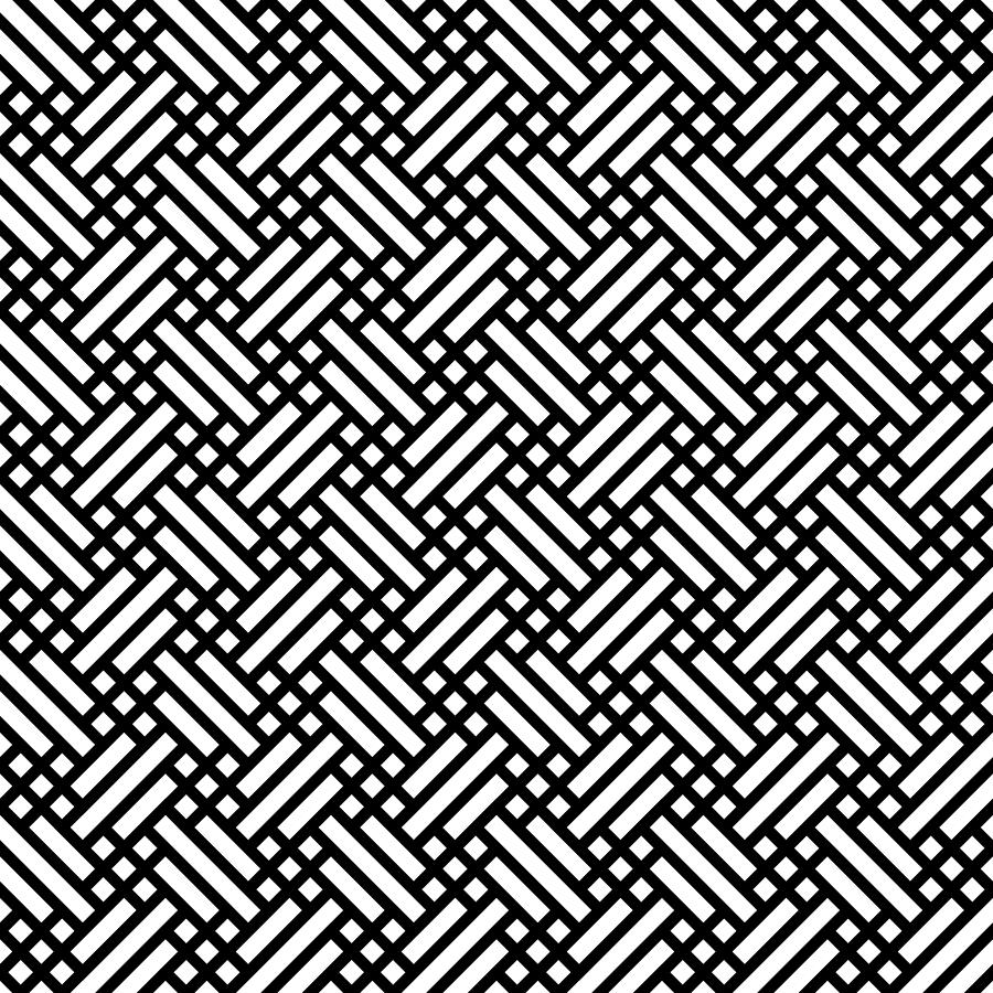 Retro Fabric Seamless Background Pattern Simple Flat Geometric Abstract Vector Illustration In Black And White