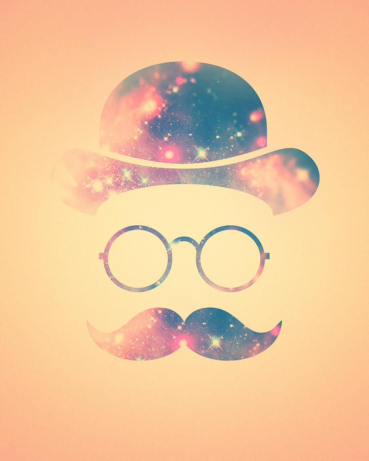 Retro Face With Moustache And Glasses Universe Galaxy Hipster In ...