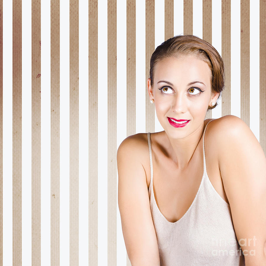 Girl Photograph - Retro Fashion Model Looking At Copyspace by Jorgo Photography - Wall Art Gallery
