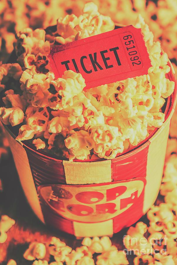 Food Photograph - Retro Film Stub And Movie Popcorn by Jorgo Photography - Wall Art Gallery