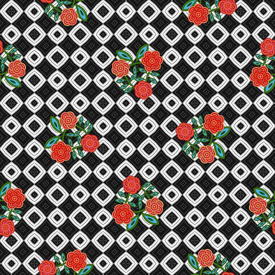 Retro geometric black white fractal pattern with red flowers by Lenka Rottova