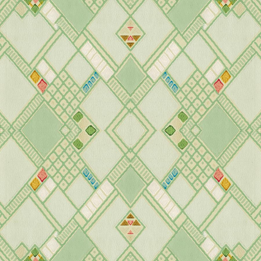 Retro Green Diamond Tile Vintage Wallpaper Pattern Digital Art By Tracie Kaska