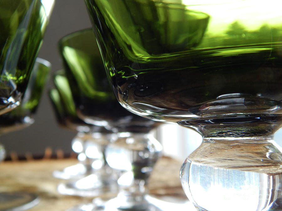 Green Photograph - Retro Green Glass Goblets by Phil Perkins