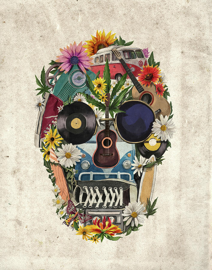 Retro Hippie Skull Painting by Bekim Art