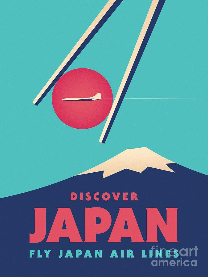 Japan Digital Art - Retro Japan Mt Fuji tourism - Cyan by Organic Synthesis