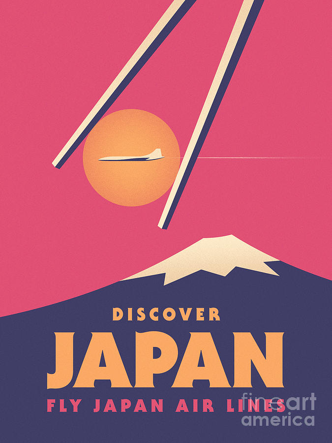 Vintage Digital Art - Retro Japan Mt Fuji Tourism - Magenta by Ivan Krpan