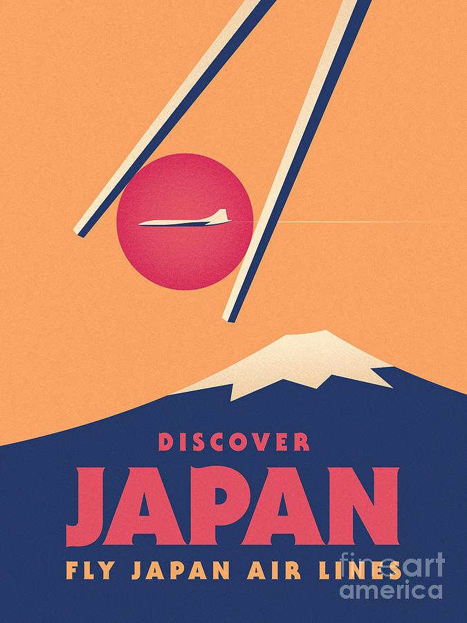 Vintage Digital Art - Retro Japan Mt Fuji Tourism - Orange by Ivan Krpan