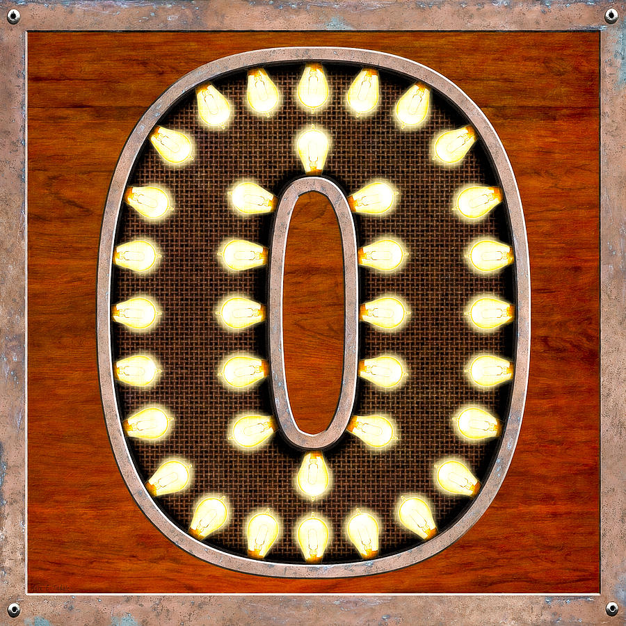 Letter Digital Art - Retro Marquee Lighted Letter O by Mark Tisdale