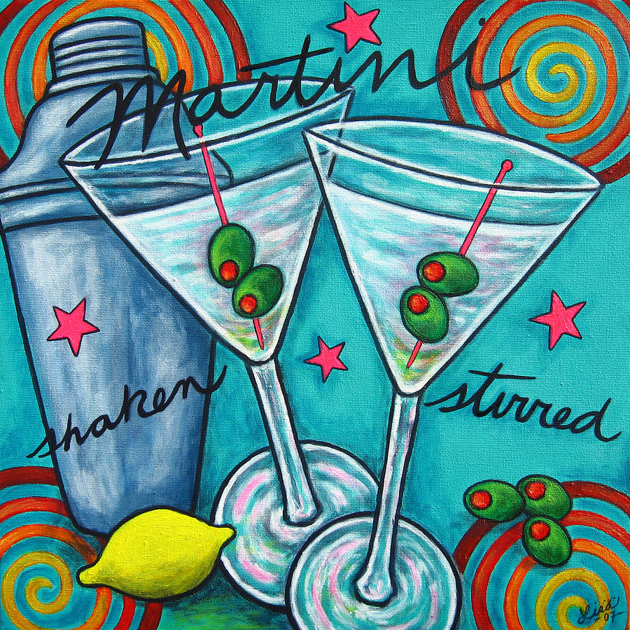 Alcohol Painting - Retro Martini by Lisa  Lorenz