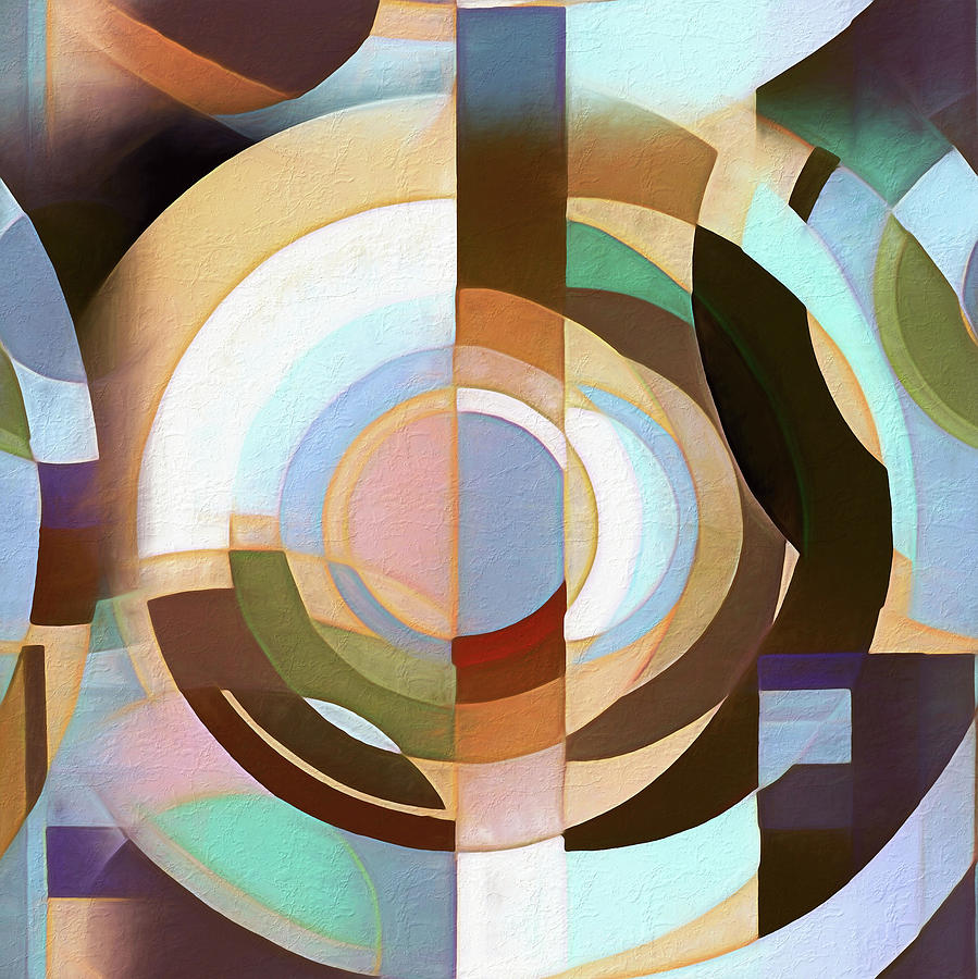 Retro Mod Brown and Blue Grapic Circle Pattern by Tracie Kaska