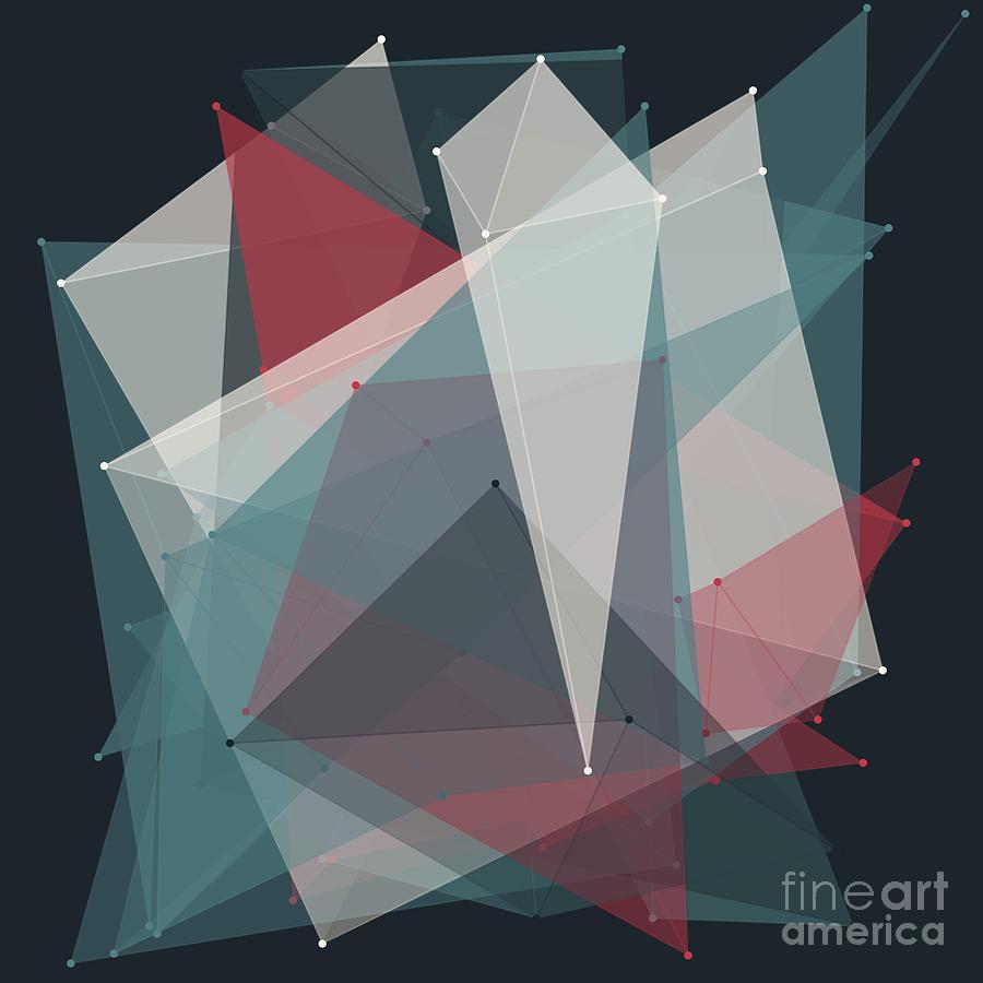Abstract Digital Art - Retro Polygon Pattern by Frank Ramspott