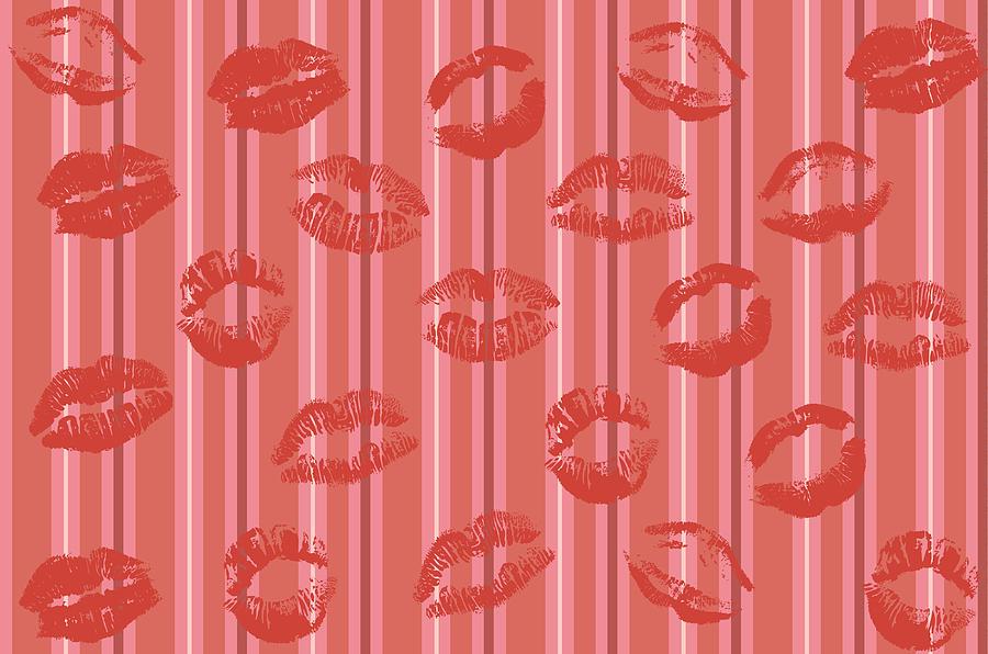 Retro Red Lips Kiss by Catherine Asoka Void