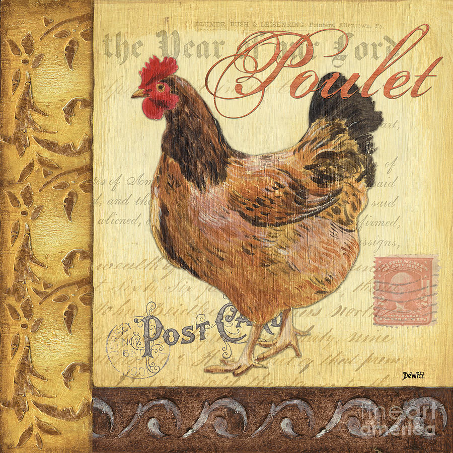 Rooster Painting - Retro Rooster 1 by Debbie DeWitt