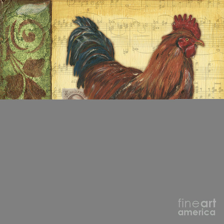 Rooster Painting - Retro Rooster 2 by Debbie DeWitt
