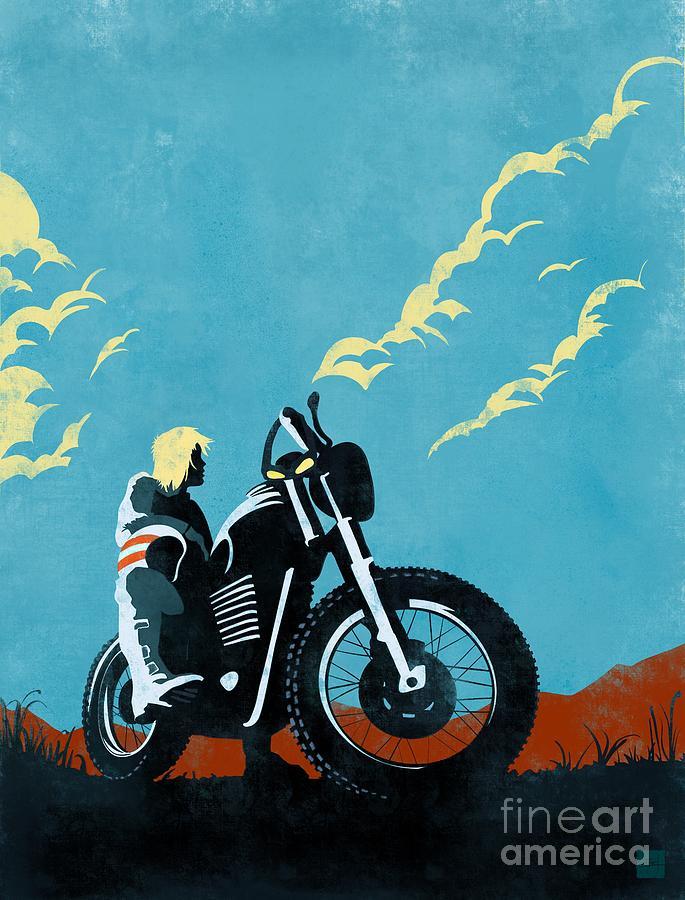 Retro Motorcycle Painting - Retro Scrambler Motorbike by Sassan Filsoof