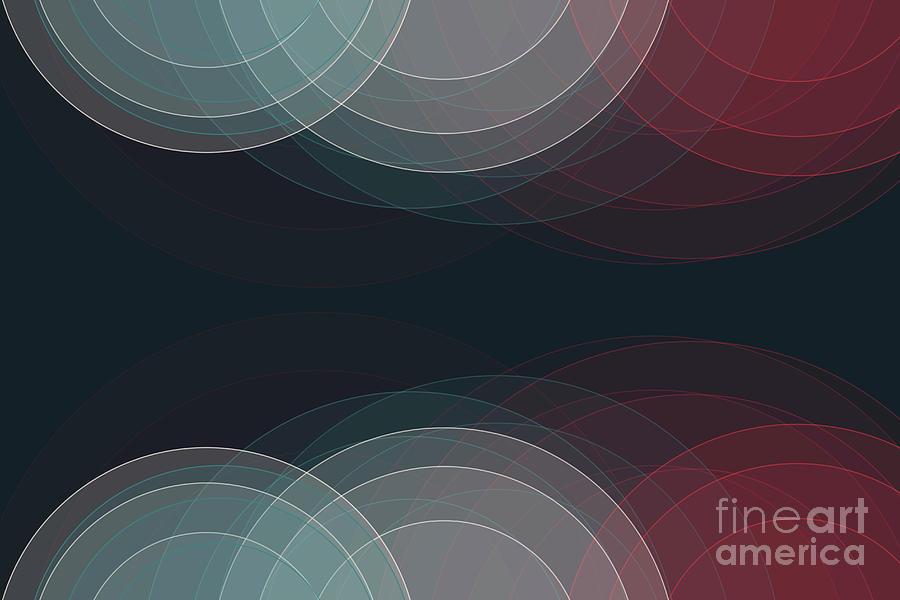 Abstract Digital Art - Retro Semi Circle Background Horizontal by Frank Ramspott