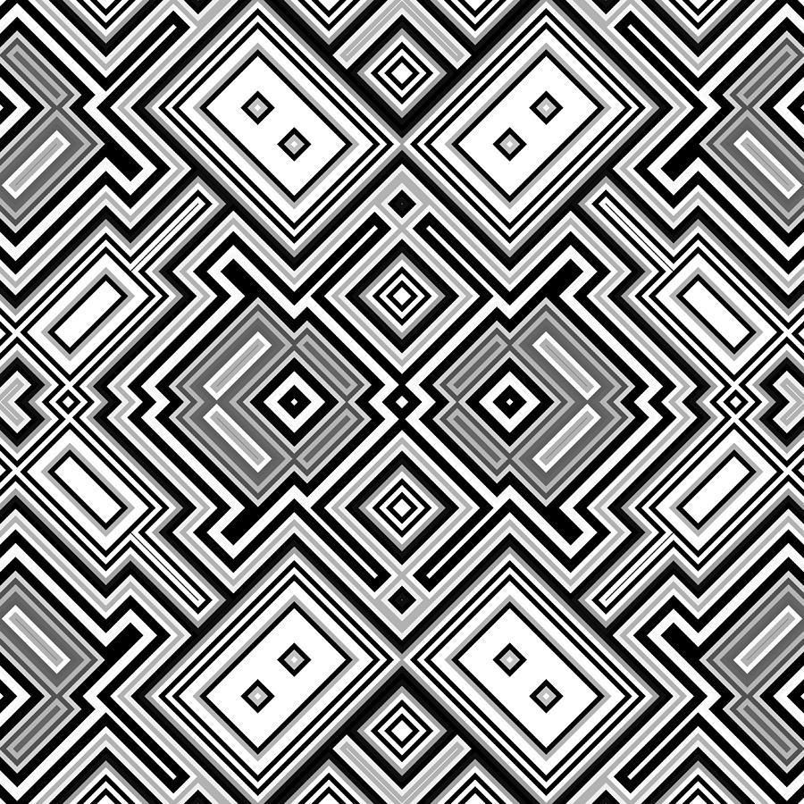 Black Digital Art - Retro Square Background by Hamik ArtS