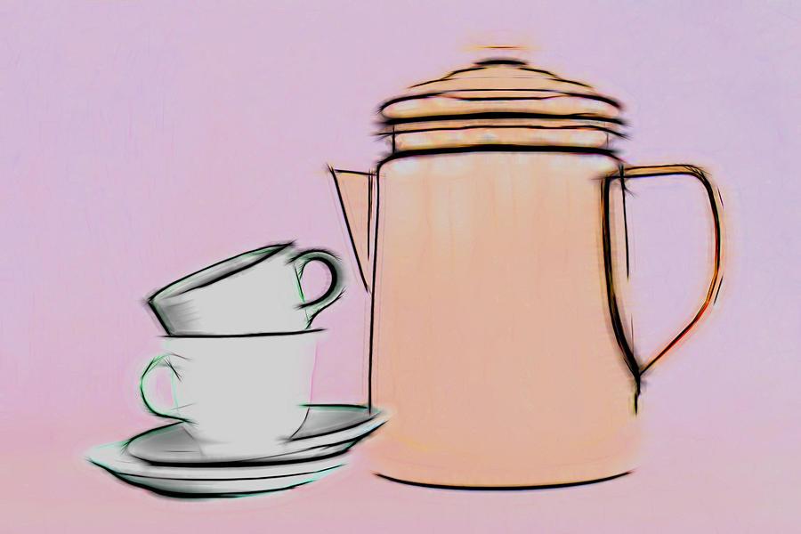 Boil Photograph - Retro Style Coffee Illustration by Tom Mc Nemar