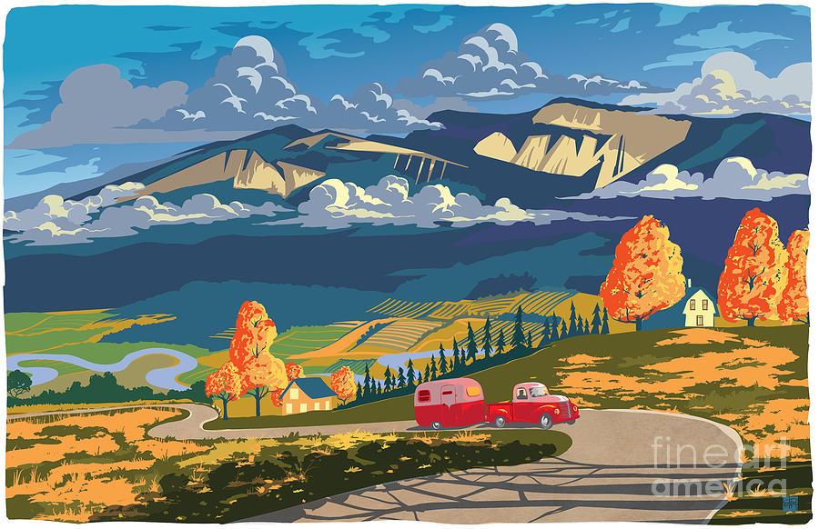 Vintage Travel Poster Painting - Retro Travel Autumn Landscape by Sassan Filsoof