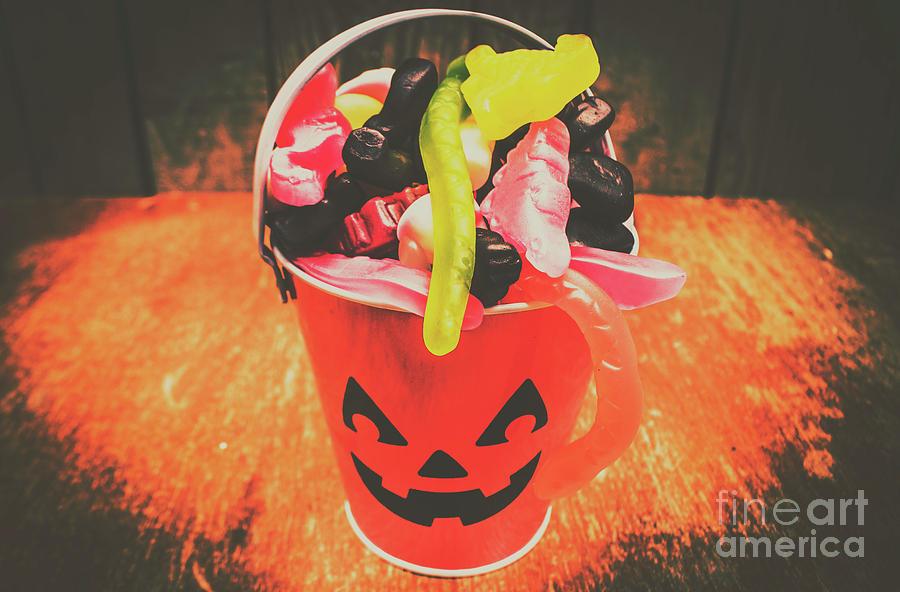 Candy Photograph - Retro Trick Or Treat Pumpkin Head  by Jorgo Photography - Wall Art Gallery