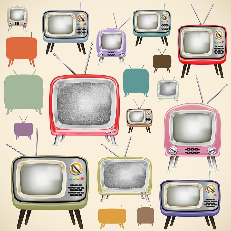 Analog Painting - retro TV pattern  by Setsiri Silapasuwanchai