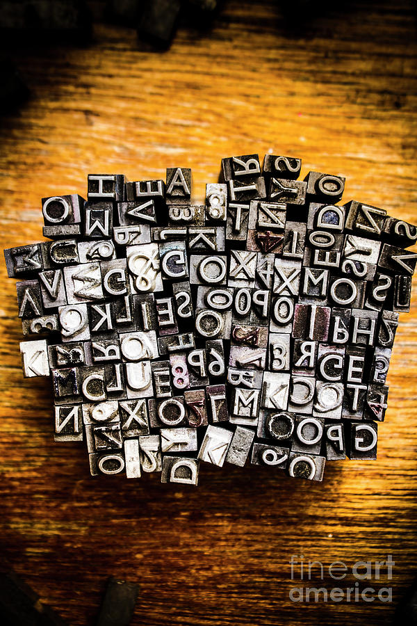 Letterpress Photograph - Retro Typesetting In Print by Jorgo Photography - Wall Art Gallery