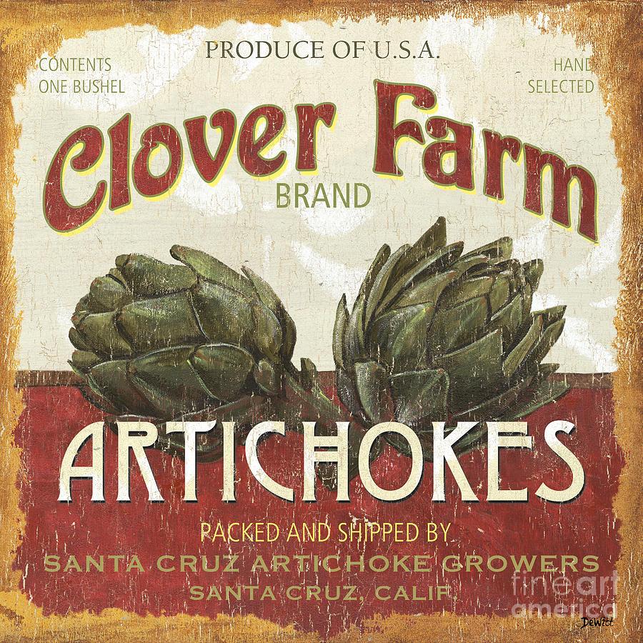 Food Painting - Retro Veggie Labels 1 by Debbie DeWitt