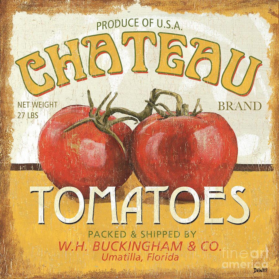 Food Painting   Retro Veggie Labels 4 By Debbie DeWitt