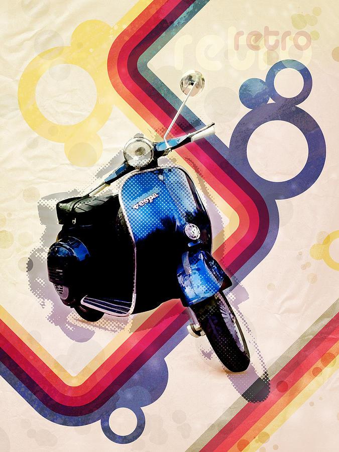 Vespa Digital Art - Retro Vespa Scooter by Michael Tompsett