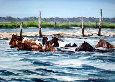 Horses Painting - Retun Home by Nancy  Hogan Armour