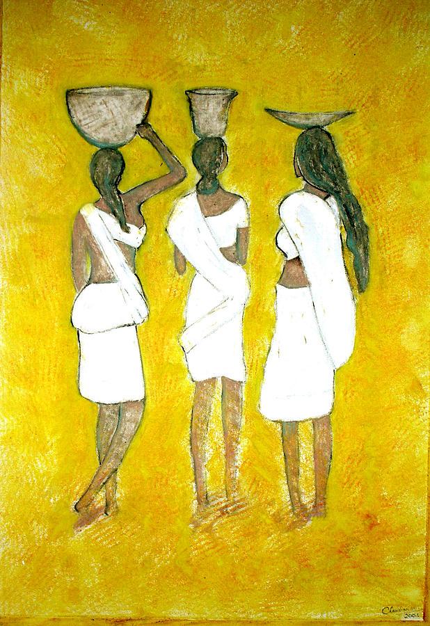 Women Painting - Return From Market by Narayanan Ramachandran
