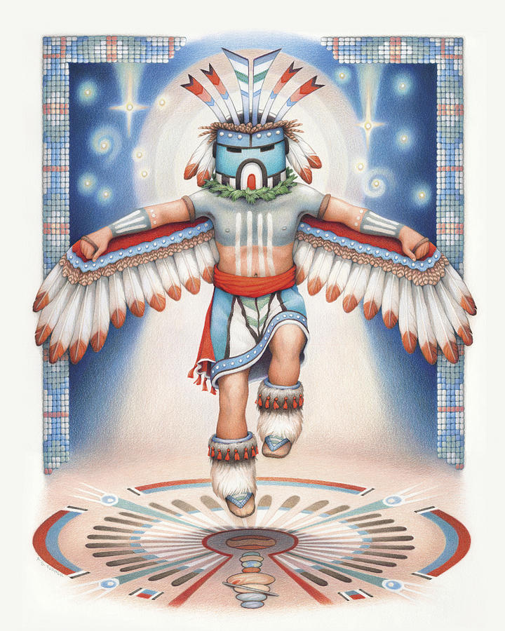 Blue Star Kachina Drawing - Return Of The Blue Star Kachina by Amy S Turner