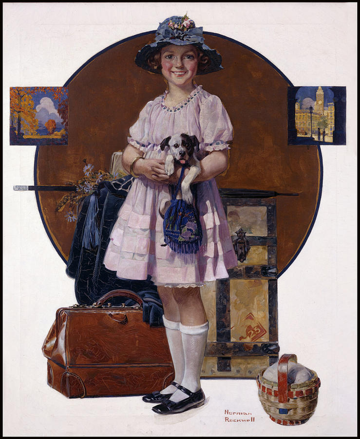 Norman Rockwell Painting - Returning From Summer Vacation by Norman Rockwell