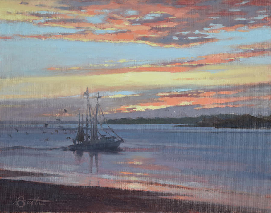 Boat Painting - Returning With The Catch by Todd Baxter