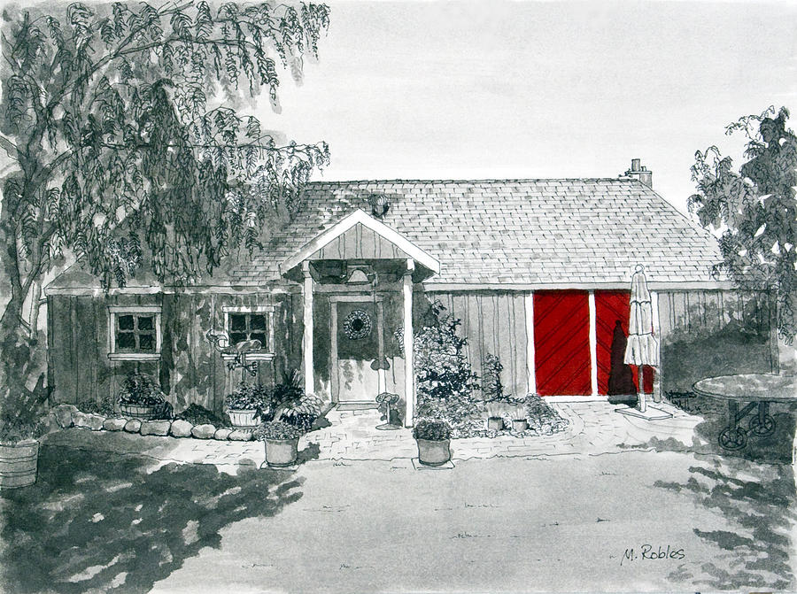 Retzlaff Winery Painting - Retzlaff Winery With Red Door No. 2 by Mike Robles
