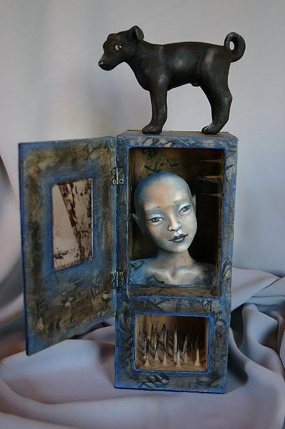 Surreal Sculpture - Reve Dun Chien Noir by Susan McMahon