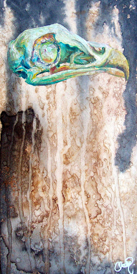 Bird Painting - Revolution Bird Skull by Christy  Freeman