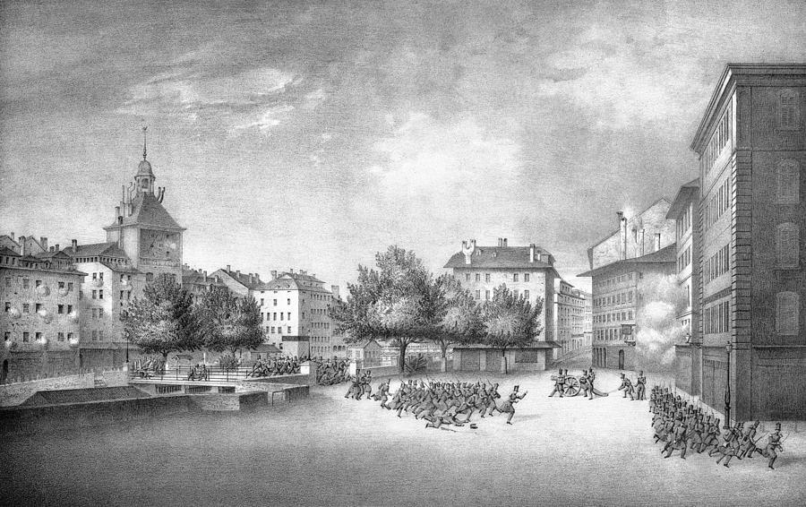 Geneva Digital Art - Revolution of Geneva 1846 Place Bel-Air by Antique Images