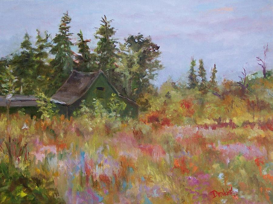 Foliage Painting - Revolutionary Barn  by Alicia Drakiotes