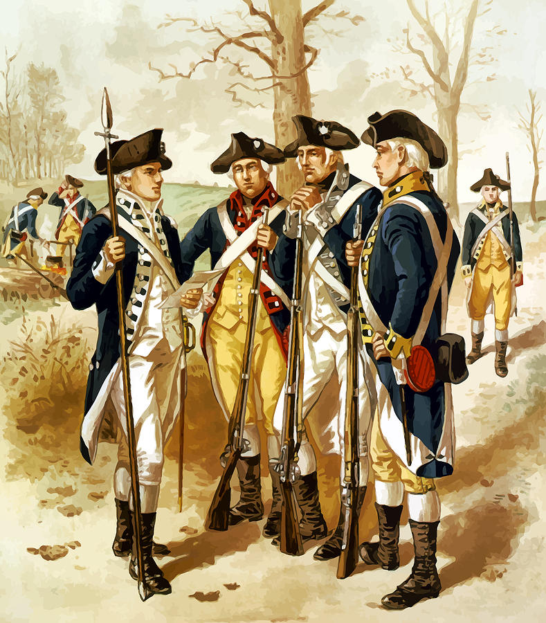 Minutemen Painting - Revolutionary War Infantry by War Is Hell Store