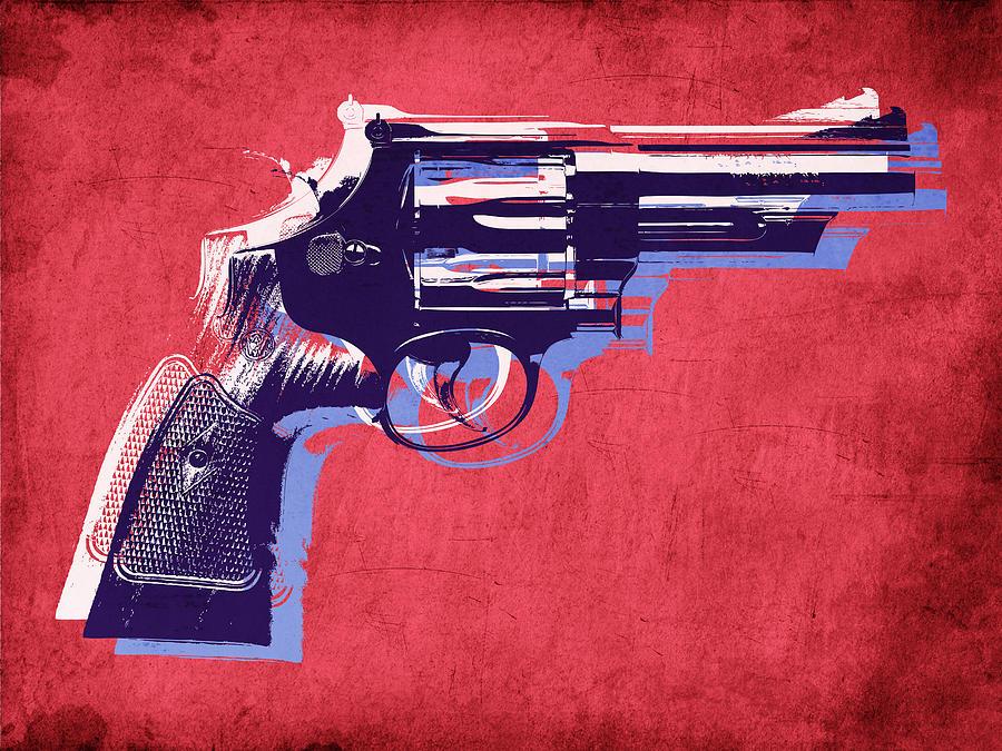 Revolver Digital Art - Revolver On Red by Michael Tompsett