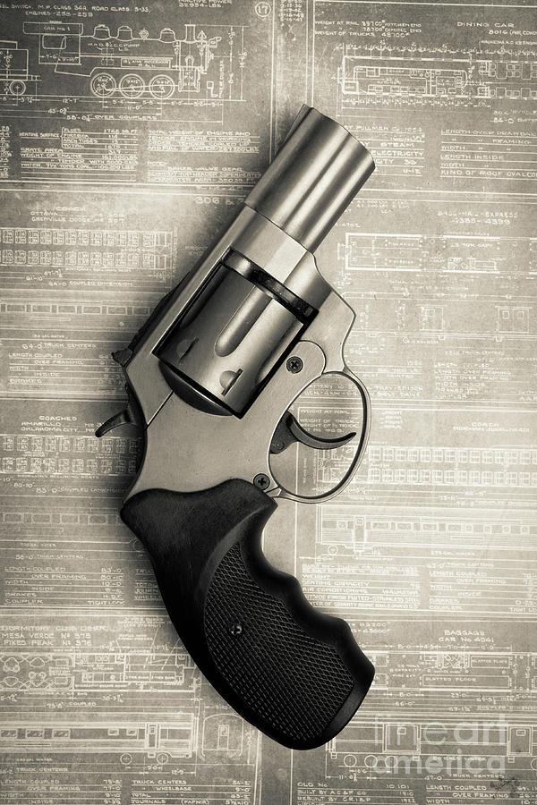Still Life Photograph - Revolver Pistol Gun Over Drawings by Edward Fielding