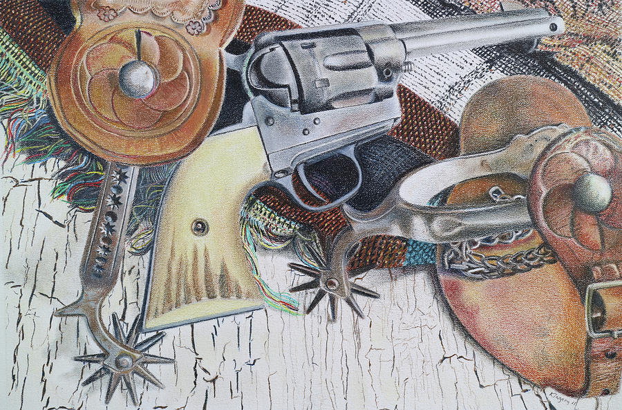 Revolver With Spurs Drawing