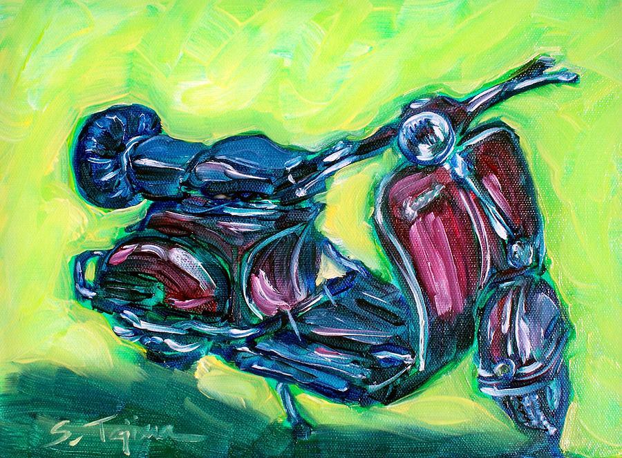 Vespa Painting - Revving Red Vespa by Sheila Tajima