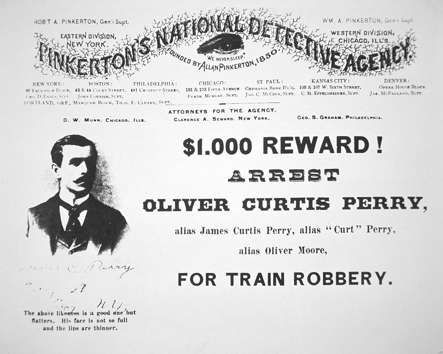 Pinkerton; Train Robber; Robbery; Us; Usa; United States; Thief; 1000 Reward; One Thousand Dollars; Dollar; Notorious; Outlaw; Criminal; Cames; Curt; Typography Painting - Reward Poster For The Arrest Of Oliver Perry Issued  by American School