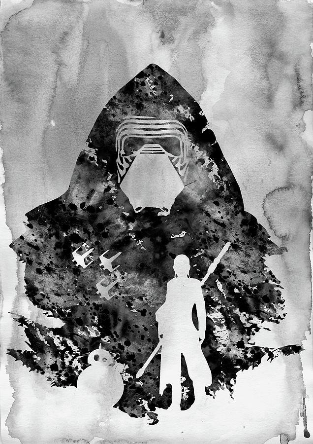 Kylo Ren Digital Art - Rey And Bb8, Kylo Ren-black by Erzebet S