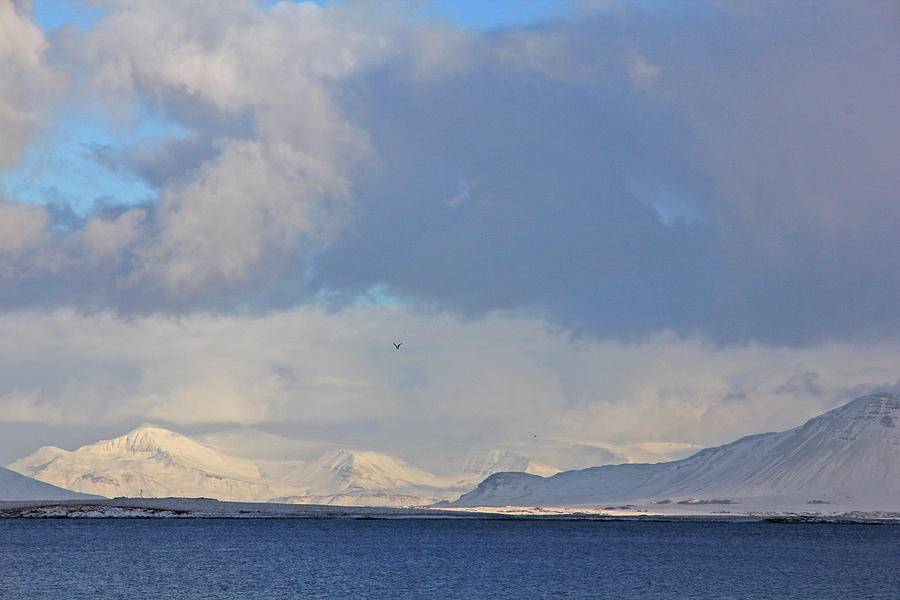 Blue Sea Photograph - Reykjavik Bay, Blue Sea, Clouds , Shadows, Mountains,  Iceland 2 2102018 2262 by David Frederick