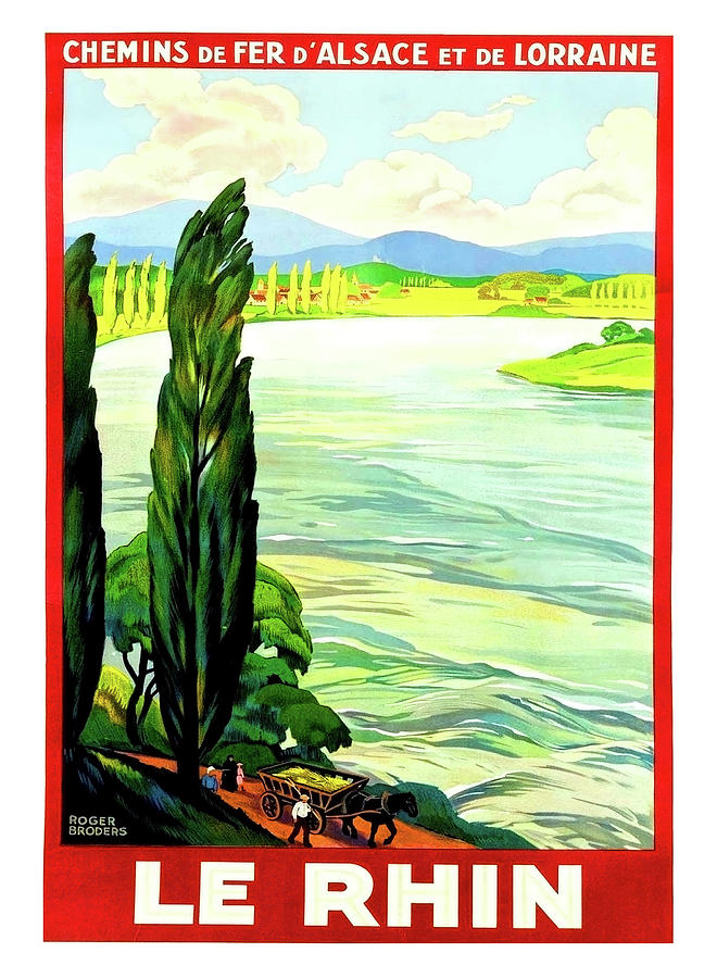 Rhine River Painting - Rhine River, Alsace, France by Long Shot